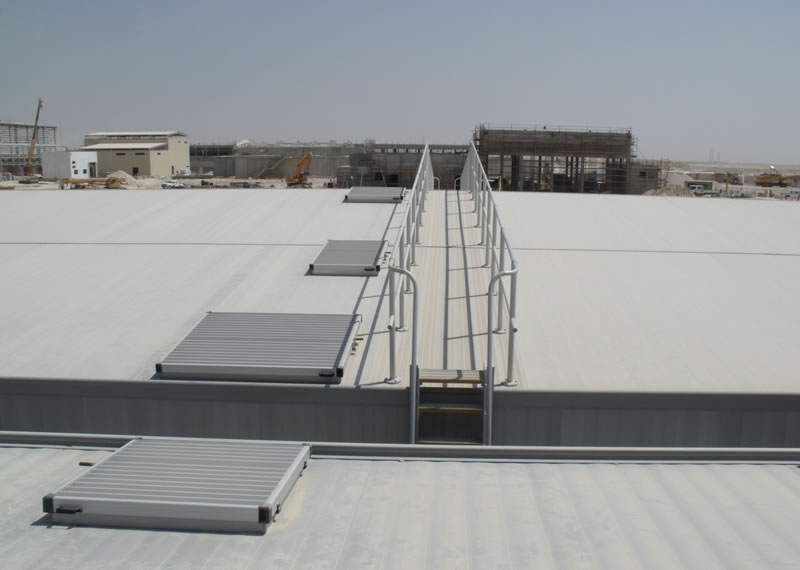 Anodised aluminium raised access cover and stairs to anodised aluminium odour control roof cover Qatar Water Treatment plant