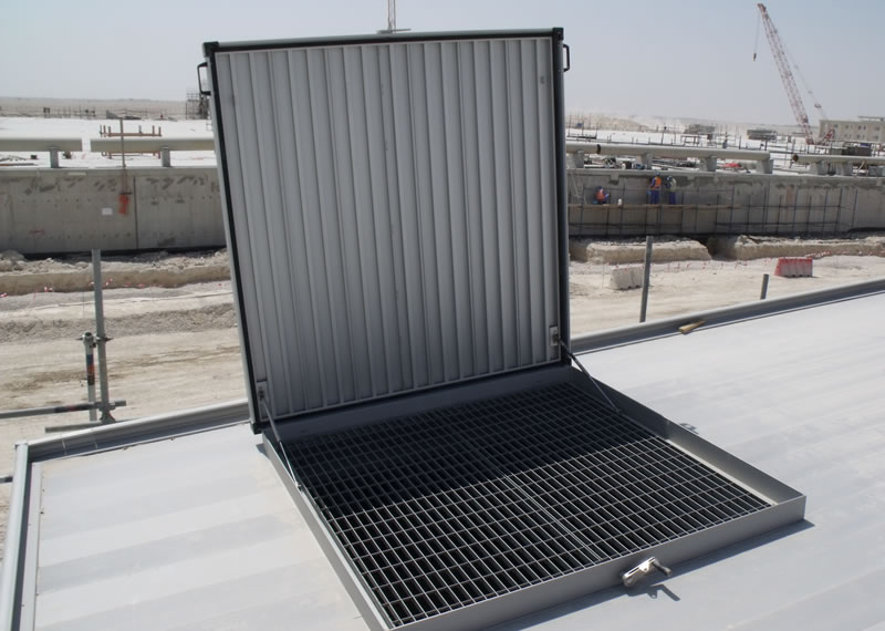 Anodised aluminium raised access hinged cover Qatar Water Treatment plant