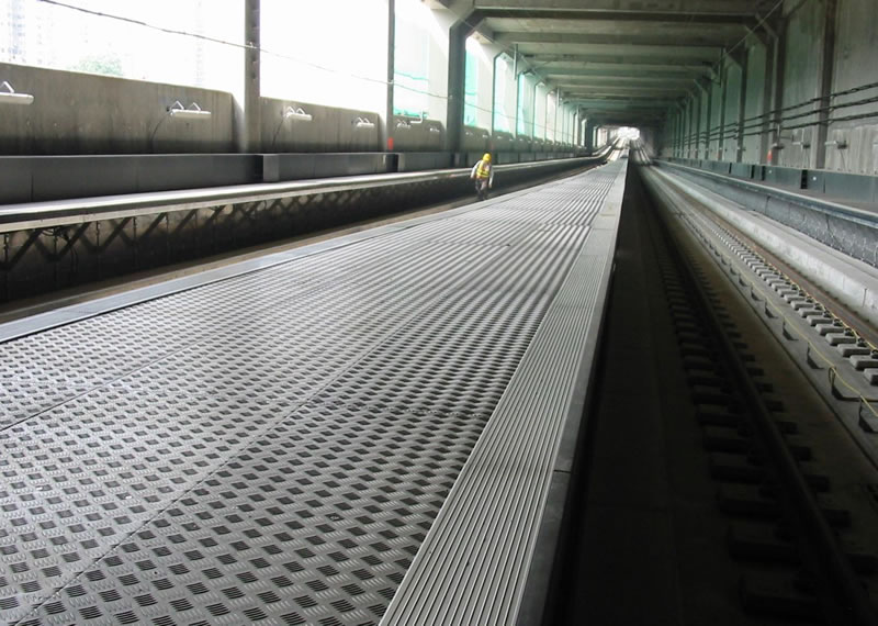 Anodised aluminium amenity walkway to KCRC West Rail, Tuen Mun & Siu Hong Stations in Hong Kong