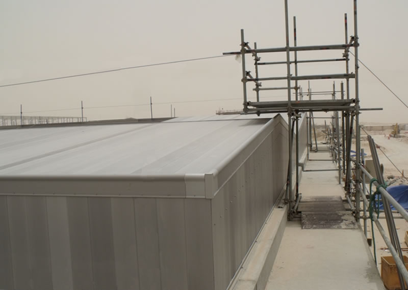 Anodised aluminium large span roof covers to provide odour control and prevent light and sand ingress to Qatar Sewage treatment Bioreactor Tanks