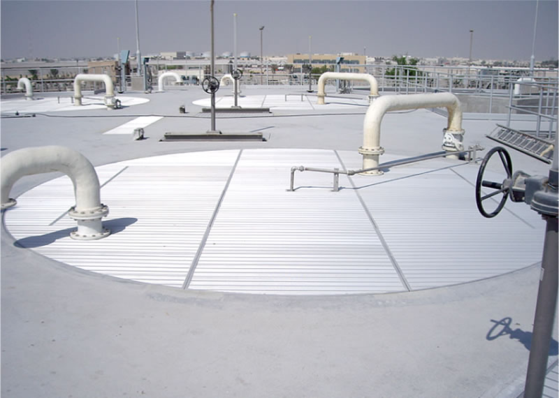 Anodised aluminium odour control roof covers to sewerage treatment plant in Qatar