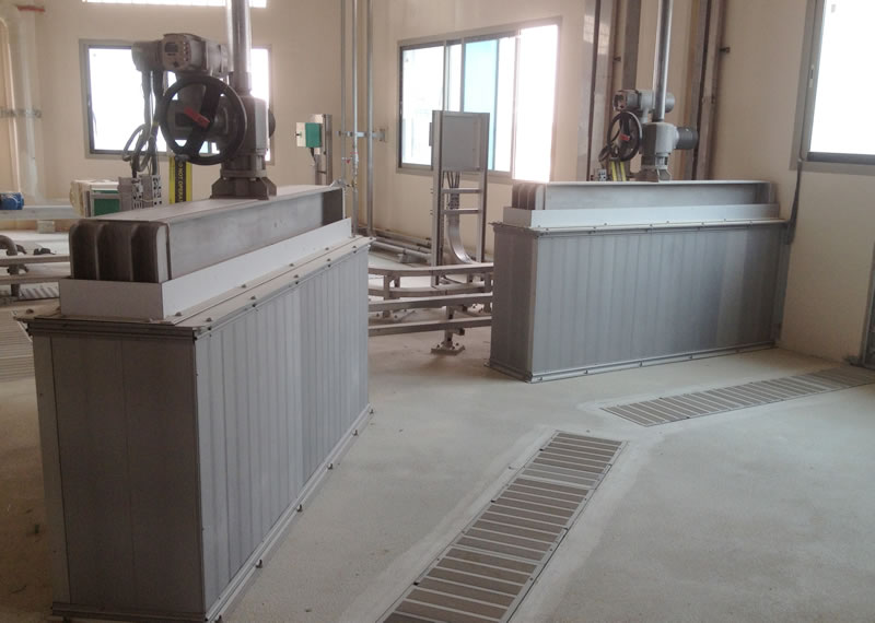 Anodised aluminium penstock odour control covers to Qatar Water Treatment plant