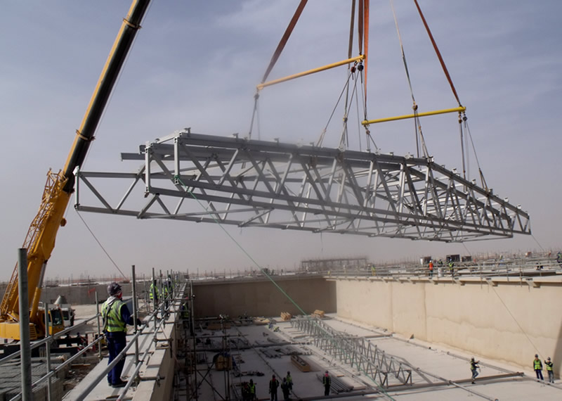 Anodised aluminium roof truss structure to support large span roof covers to Qatar Sewage treatment Bioreactor Tanks