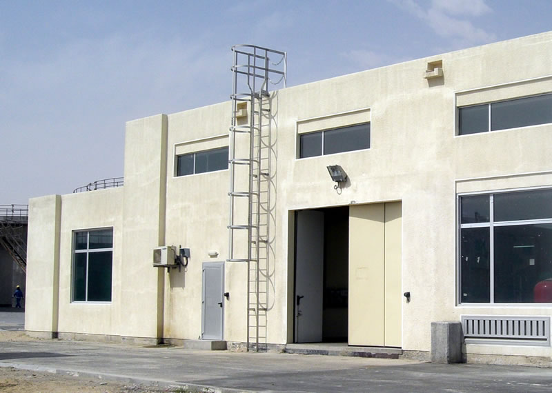 Anodised aluminium access ladder to administration building roof top Qatar Sewage treatment plant